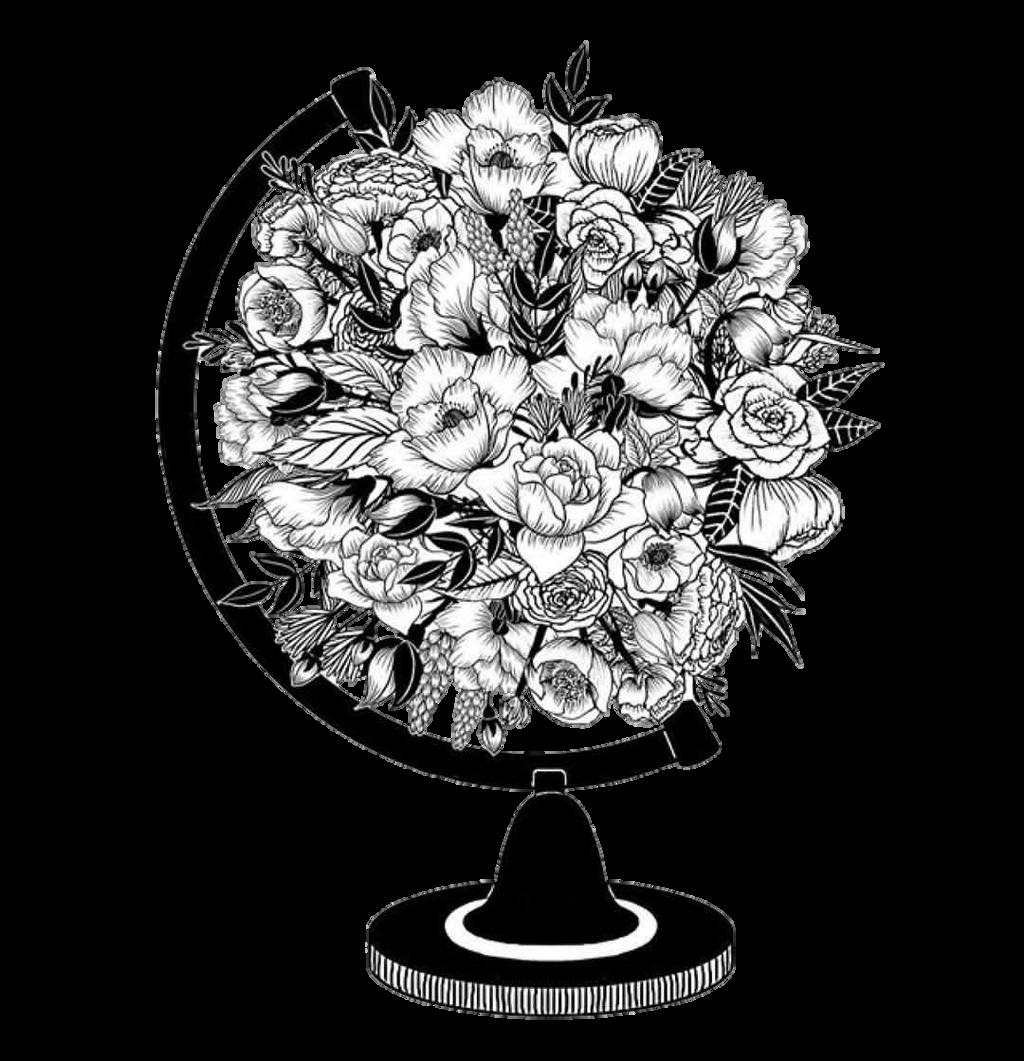Worldmap Flowers Tumblr Blackandwhite