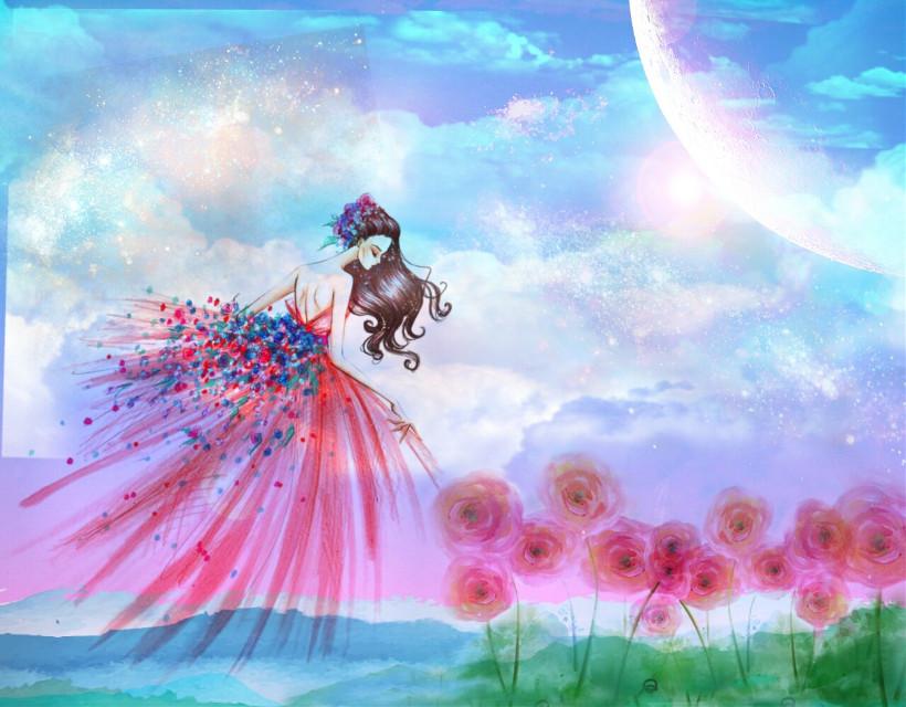 #freetoedit #fantasyart  #fairy #flowers #watercoloreffect #dreamy #pastels #skyandclouds #beautiful #myedit #madewithpicsart