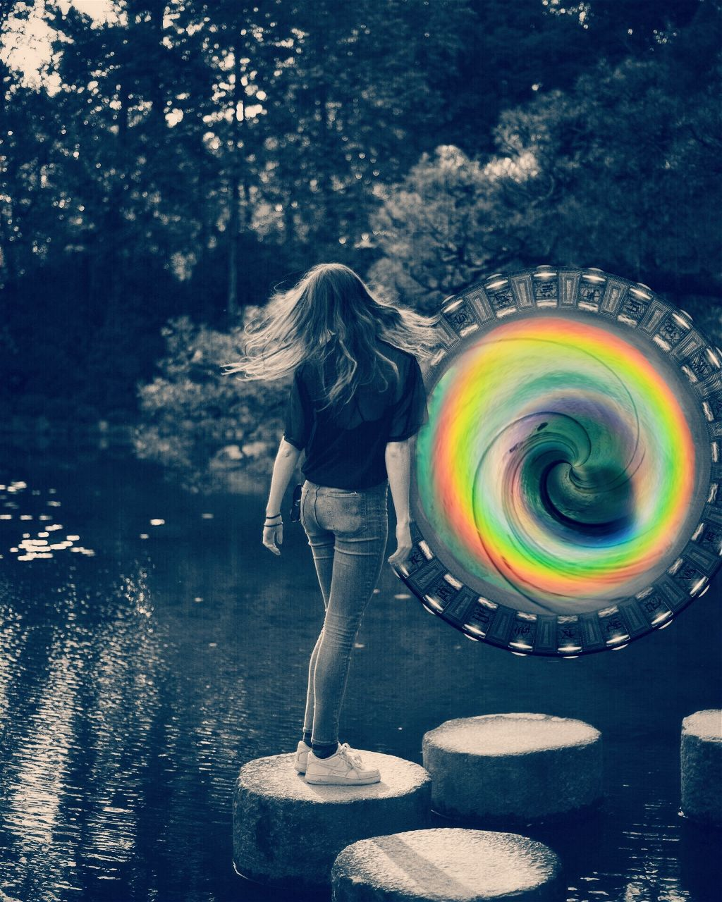 I'm actually pretty proud of this!😄 #girl #portal #newworld #rainbow #differentworld #steppingstones #coolpic #stickers