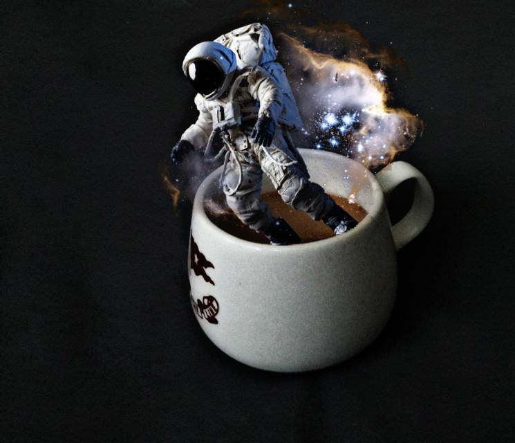 #freetoedit #coffee #astronaut #galaxy #magic