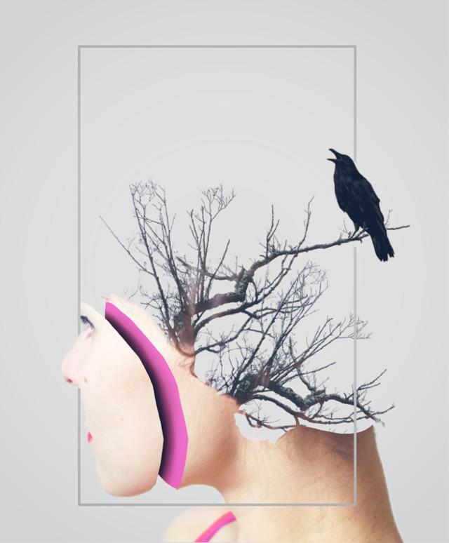 #freetoedit #girl #pink #face #sliced #crow #treebranch #doubleexposure #bird