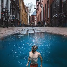 freetoedit street puddle snorkeling diver