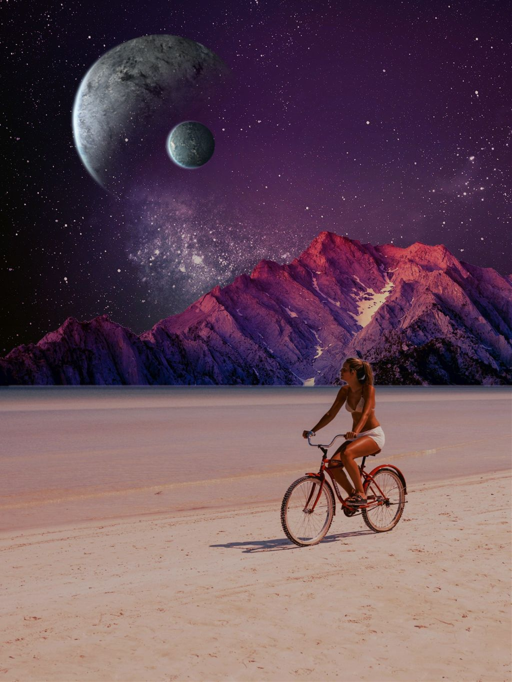 Happy Friday to all🤗 #bikeronthebeach #ecparalleluniverse Image from @freetoedit and some free stickers #photomanipulation #galaxy #beach #nature #photoblending #madewithpicsart #editstepbystep #myedit #surreal #surreality
