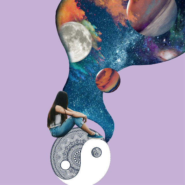 #freetoedit #girl #yingyang #space #galaxy