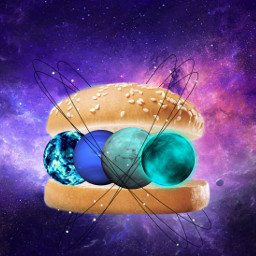freetoedit burger sandwich space galaxy irchamburgerbun