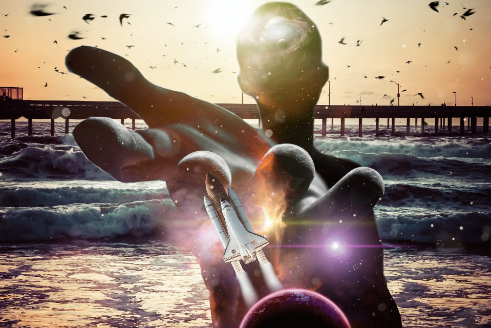 #freetoedit #beach #galaxy #figure #doubleexposure #glare #rocket #surreal #picsart #birds #nature