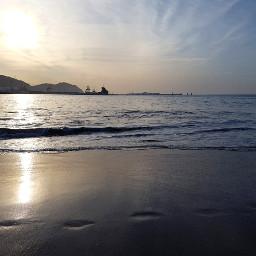beaches sea sky sunset waves