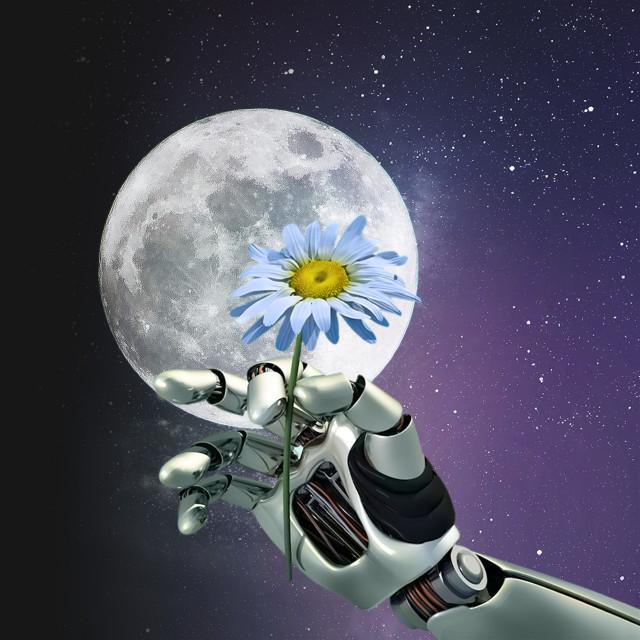 #freetoedit #moon #star #galaxy #arm #flower #robot #surreal #picsart