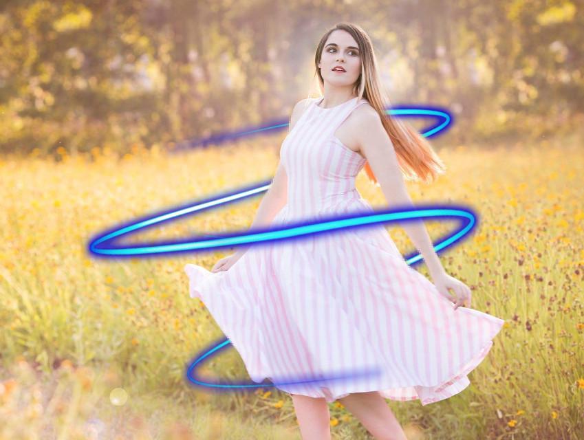 #freetoedit #girl #beautiful #field #walk #joy #happy #shine #dress #grass #nature #wave #neon #light #spiral #dance