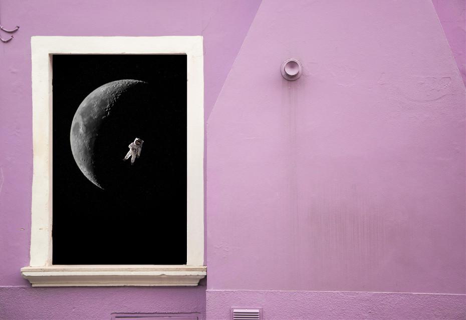 #freetoedit #window #galaxy #astronaut #moon #surreal #wall #picsart