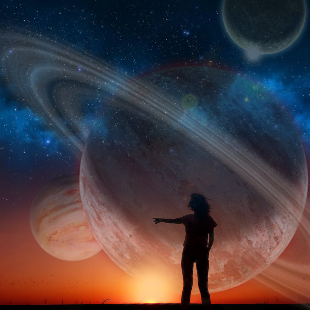 #freetoedit #planets #saturn #mars #silhouette #sunset #huge #galaxy #stars #space #universe #ring #rings #planet #night #sky #remixit