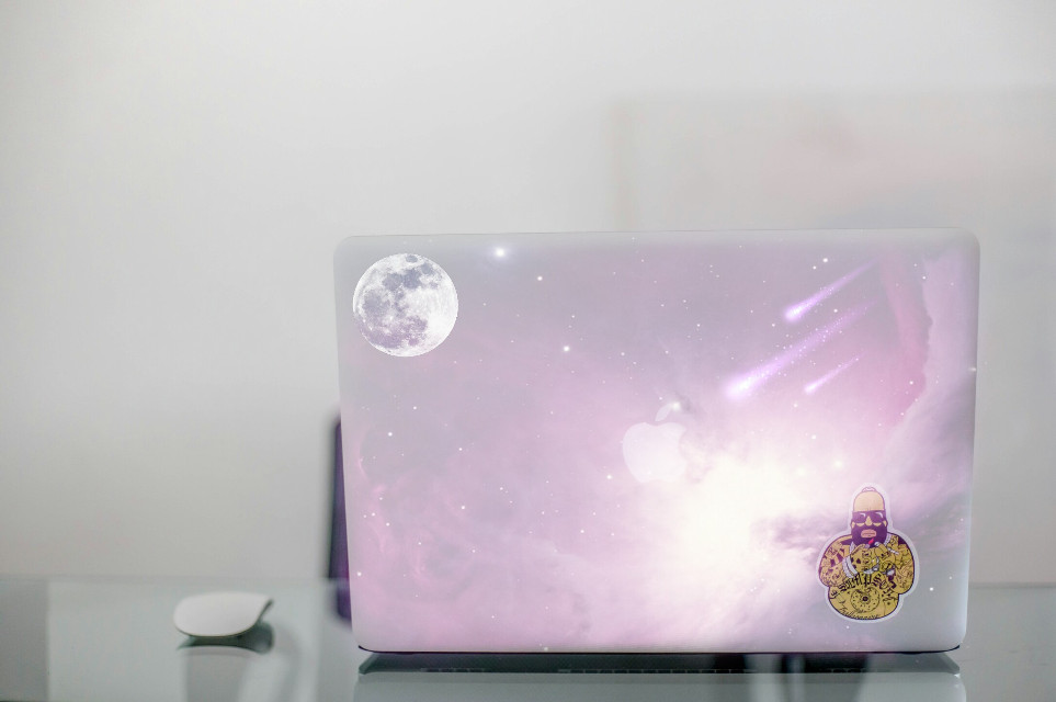 Wish I had such a laptop cover😍😂😂😄  #freetoedit #galaxy #moon #laptop