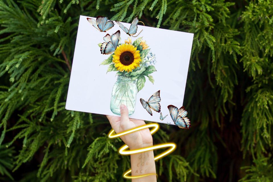 #freetoedit #sunflower #sunflowers #sunflowers🌻💛🌻 #butterfly #butterflies #hand #tree #paper #drawing #real #blue #vase #light