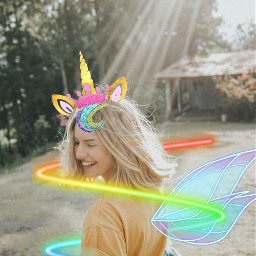 freetoedit unicorn girl raimbow neon