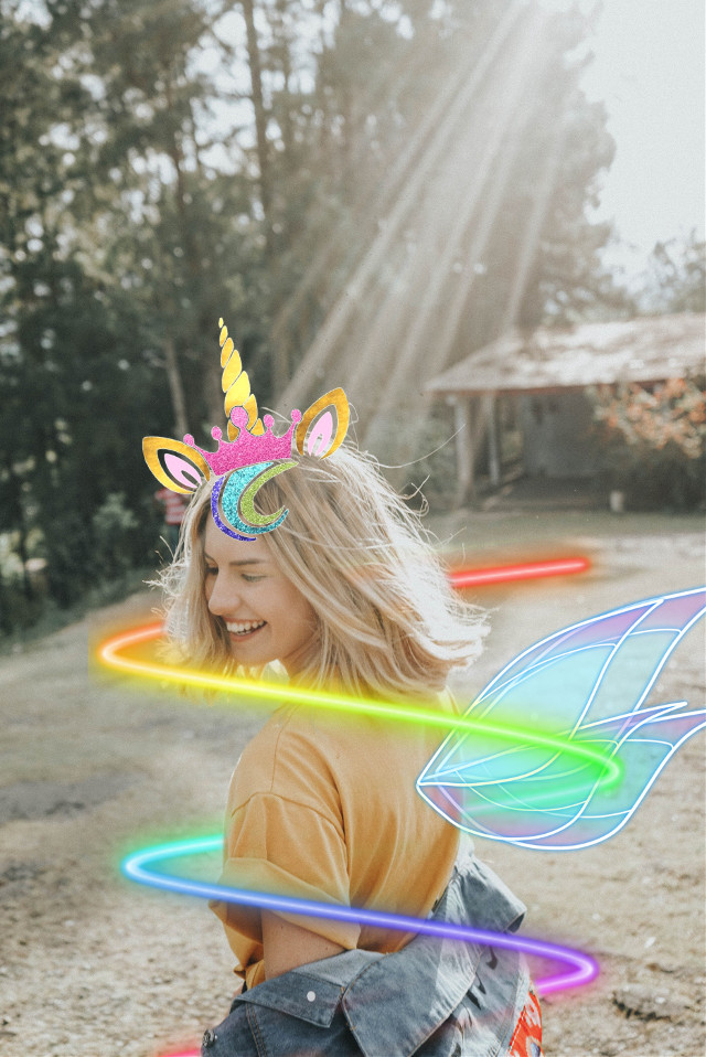 #freetoedit #unicorn #girl #raimbow #neon #wings