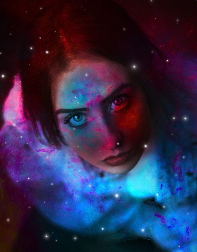 #freetoedit #woman #paint #doubleexposure #galaxy #stars #color #picsart