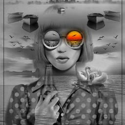 freetoedit multiexposure blackandwhite surreal fantasyart