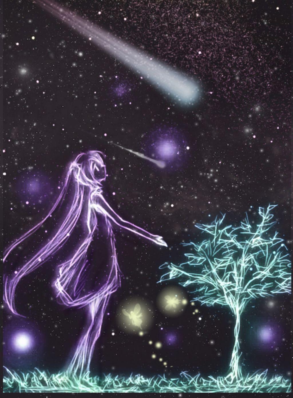 #freetoedit #girl #shootingstar #wishonastar #neon #lighteffects #nighttime #colorful #artistic #layersonlayers #stickerart #myedit #madewithpicsart
