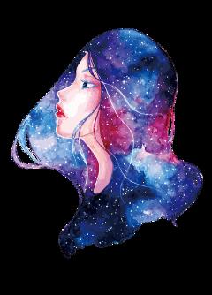 ftestickers fantasyart woman galaxyhair freetoedit