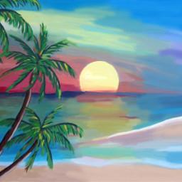 freetoedit painting beach palmtree sunset dcbeachday