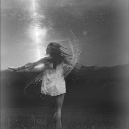 freetoedit woman blackandwhite aesthetic ethereal