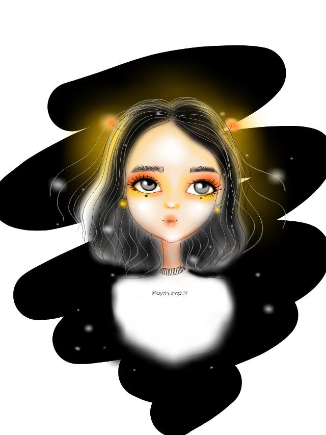 Девочка- ночь 😊 Или девочка -светлячка А как бы вы назвали эту милаху ??? каждый день я начинаю создавать персонажей , надеюсь что из этого что-то выйдет 😊 @picsart @pa @aychuhappy #cute #girl #cutegirl #nigth #nigthgirl #stars #draw #drawing #draws #drawingart #artwork