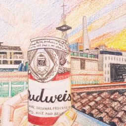 landscape house beer sunset drawing