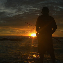 fishing sunset sea beach life