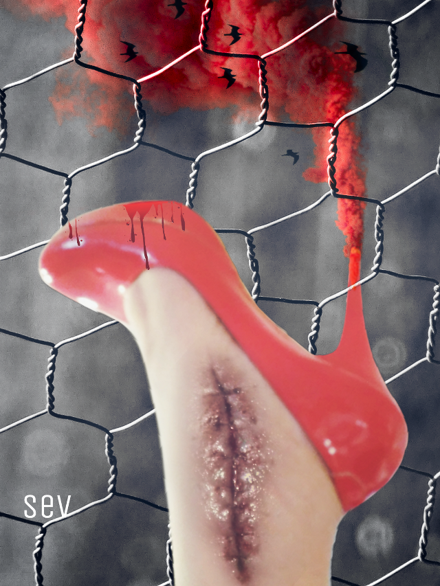 #freetoedit #blackandwhite #red #shoe #darkness #creepy #bloody #wound #fog #myfoot #myedit