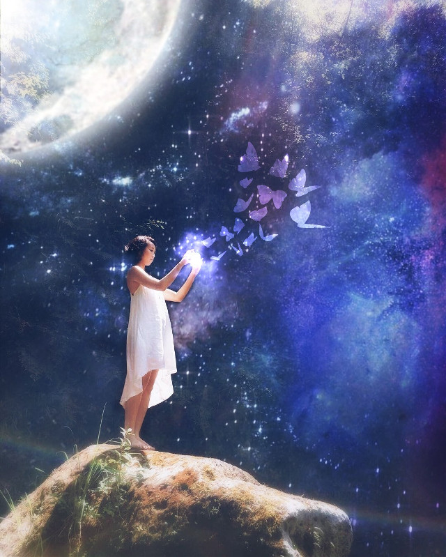 #freetoedit #galaxy #space #girl #butterfly #magic