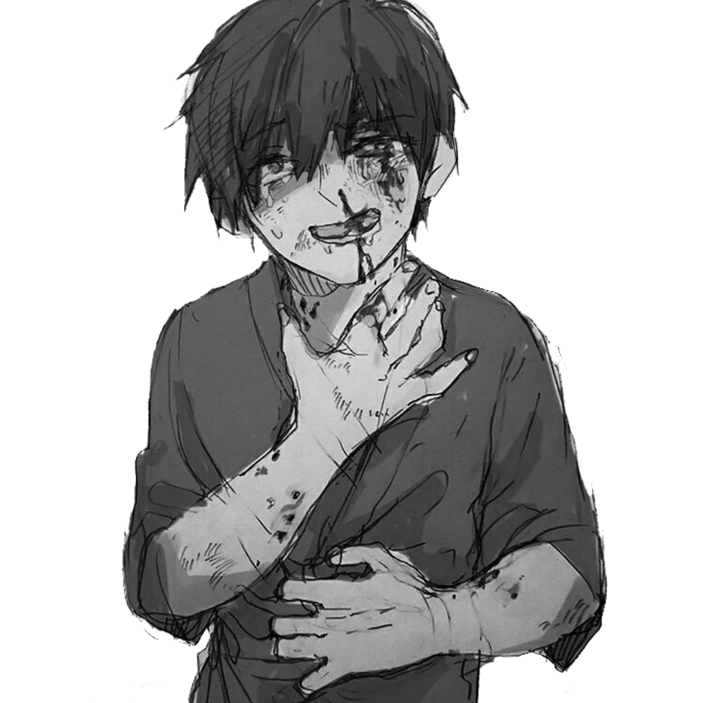 Anime animeboy sad pain edgy gore scary idk