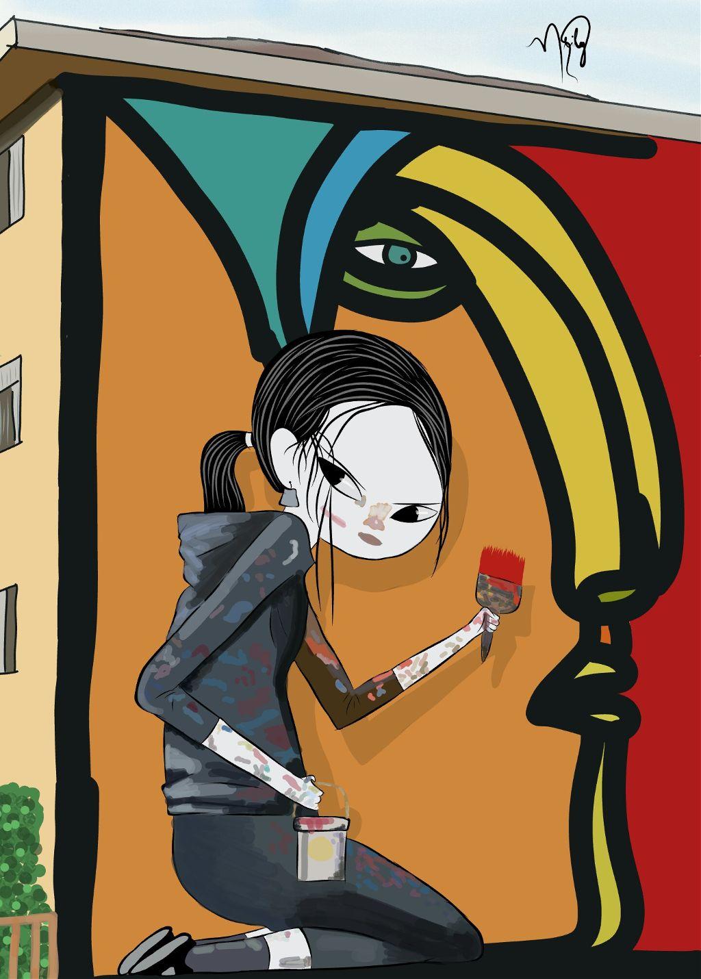 #freetoedit #grafitti #girl #pintura #street