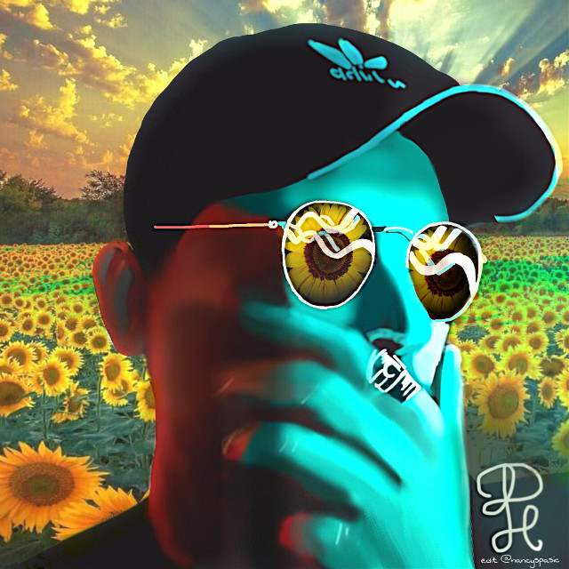 #complimentarycolors #blueandyellow #pictureoverlay #sunflowers #vipshoutout Please check out the drawing gallery and beautiful portraits of @pauli125art 🌻  #freetoedit