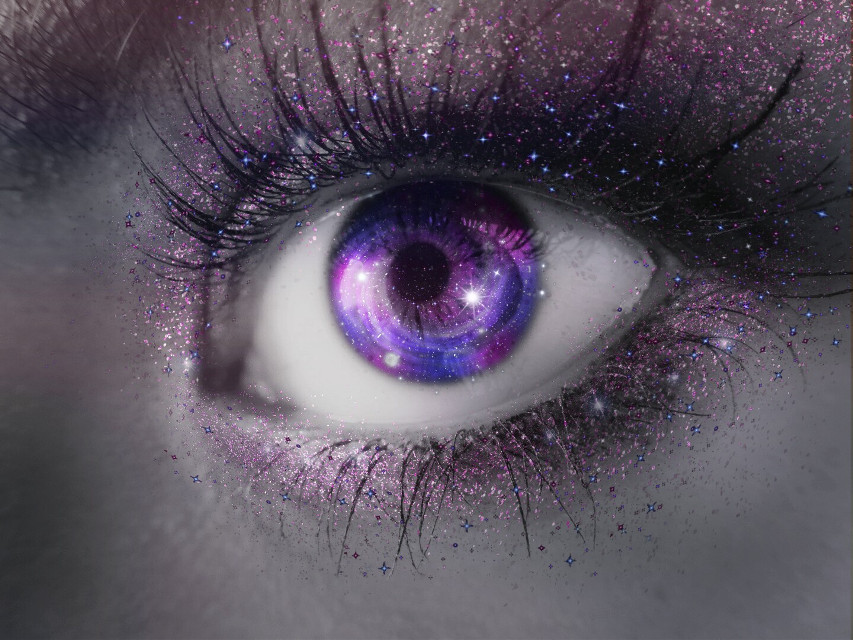 'She had Galaxy in her Eyes,  a Universe in her Mind'   Good morning friends! 💜  Thankyou @pa and love friends! 💜  #eyes #galaxyedit #galaxyeyes #glitter #glam #hues #gradient #freetoedit #Picoftheday  #stardust #madewithpicsart