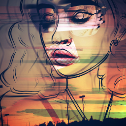 freetoedit ircoutlineaesthetics outlineaesthetics glitch sunset