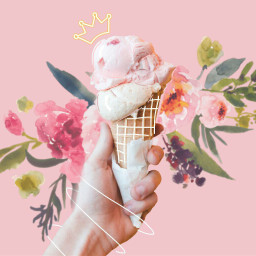 freetoedit icecream pink flower