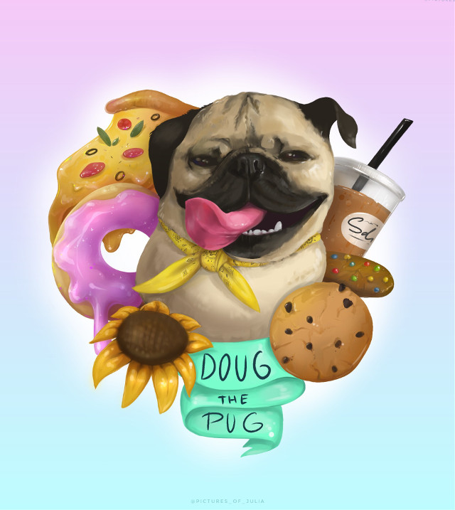 This is my new drawing for one famous instagram dog 🐶 😂 you can find him as @itsdougthepug on instagram ✨ Do you like this drawing? #pug #dog #art #drawing #artwork #digital #digitalart