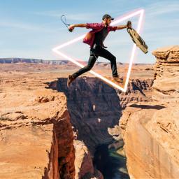 freetoedit men running glowingeffect triangle