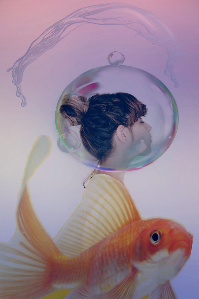 #freetoedit #picsart #remixit #remixed #girl #fish #bubble