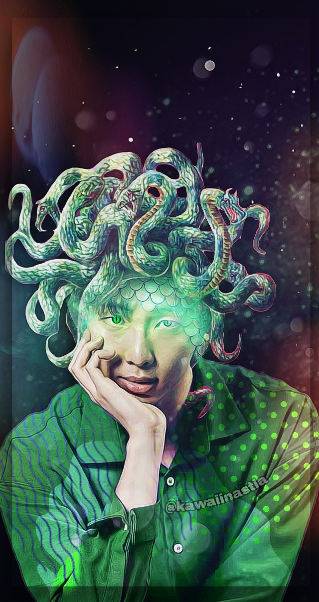 I legit went too extra on this one, and I don't even regret it😂💚 💓  ✨  💓  Also, any constructive criticism regarding my editing is absolutely welcome, as it is the only way I can fix any error that has been made😚 ✨  💓   #freetoedit #kcon18la #picsart #green #namjoon #rapmonster #bts #bangtanboys #edit  @picsart @kconusa #lockscreen #wallpaper  #eckpopfanart