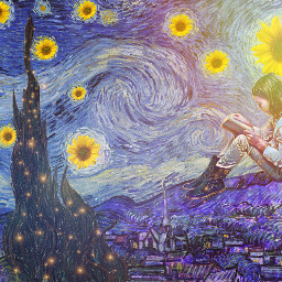 freetoedit vangoghart remix girlreading sunflowers ircartfriday