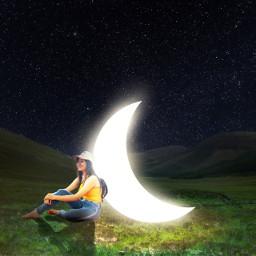 freetoedit moon background night girl