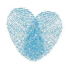 fingerprint blue heart love glitter