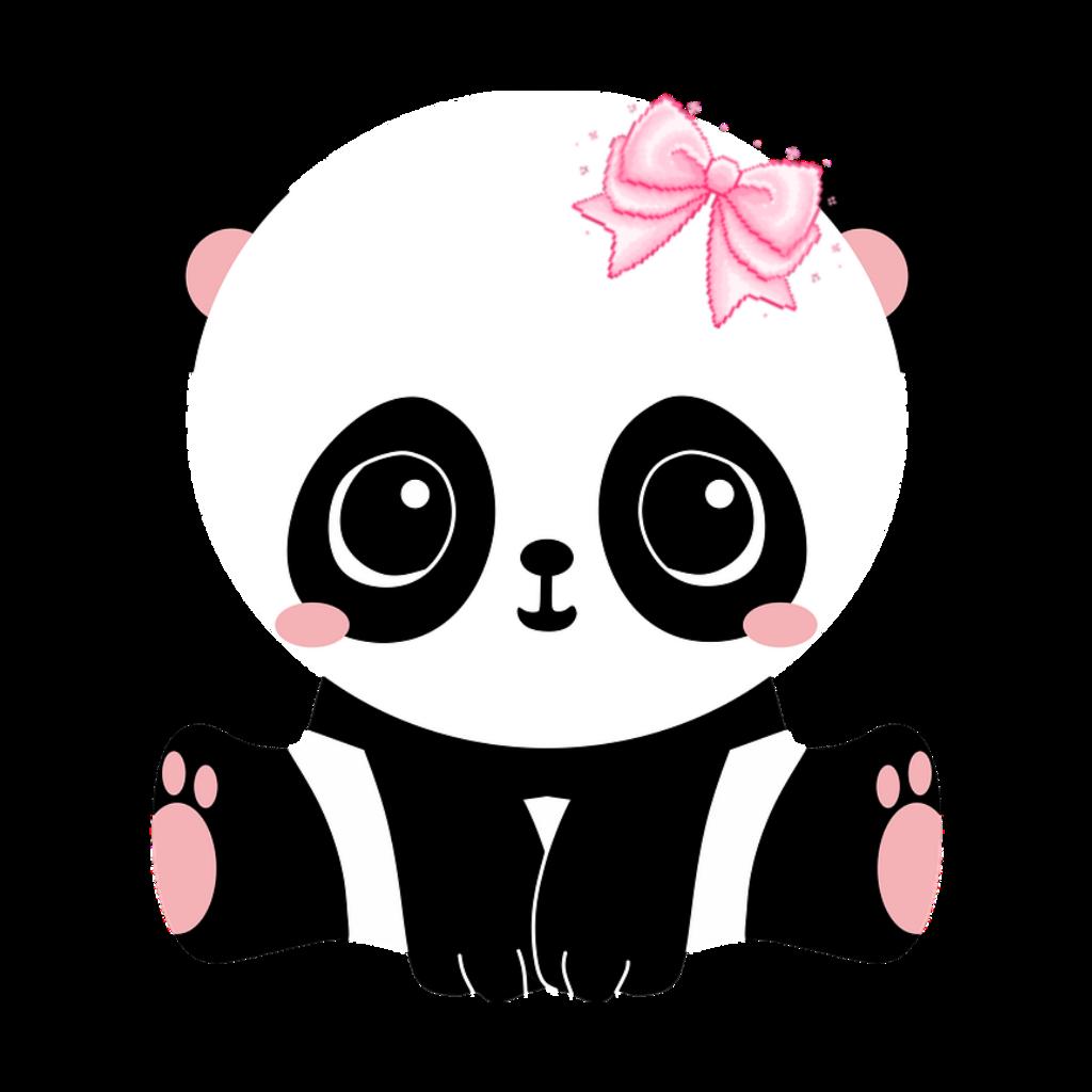 Panda Baby Cute Animal Pink Blackandwhite