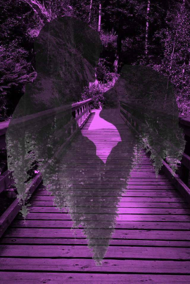 Love is a distant  memory #bridge #memory #couple #love  #freetoedit