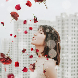 freetoedit girl floatingflowers red flowers