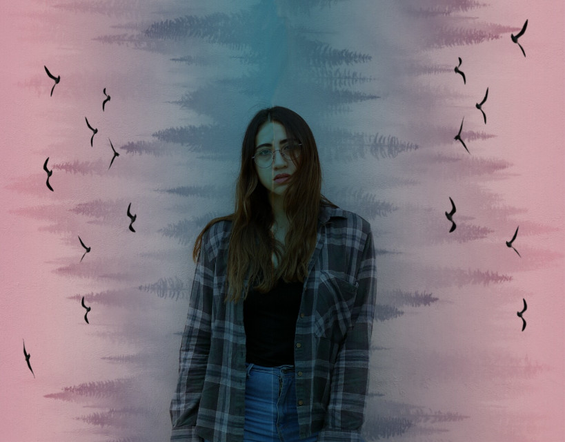 #freetoedit #girl #trees #forest #birds #colorful #colorful_forest #colorgradient #colorgradienteffect #pink #blue #picsart #picsartpassion #be_creative