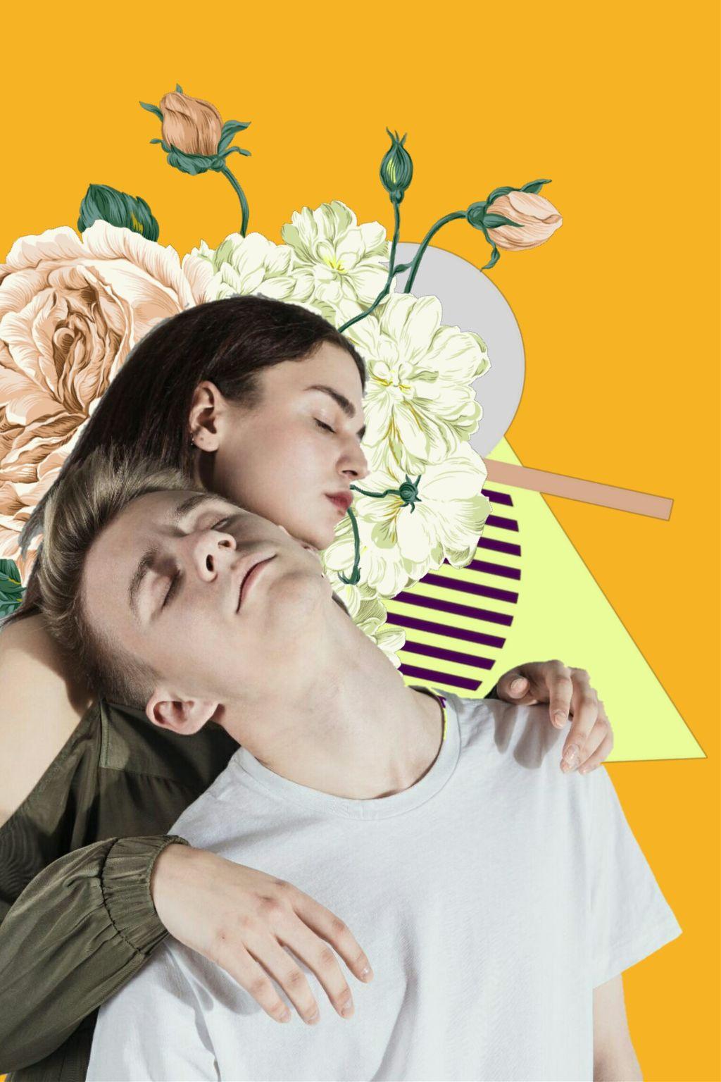 yellow  #freetoedit #flowers #couple #boy #girl #man #woman #circle #triangle #yellow flowerscrown
