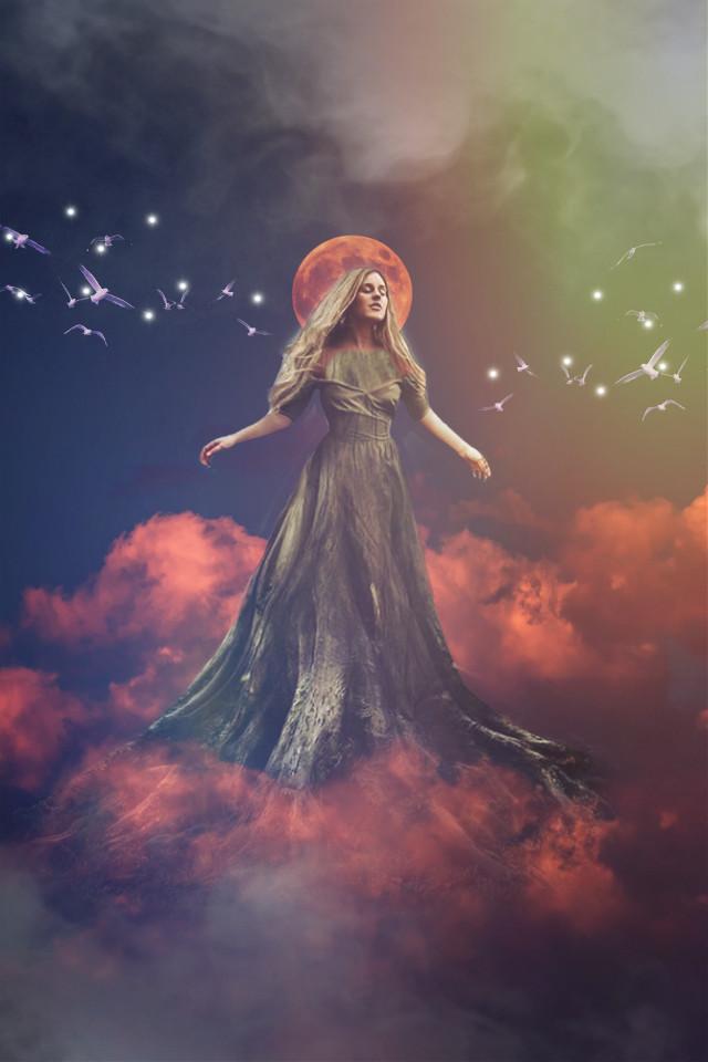 #freetoedit #remixit #remixed #picsart #woman #clouds #smoke #birds