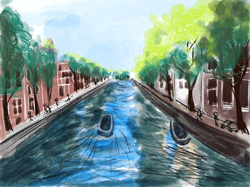 Quick sketch today. A beautiful water channel in Amsterdam.